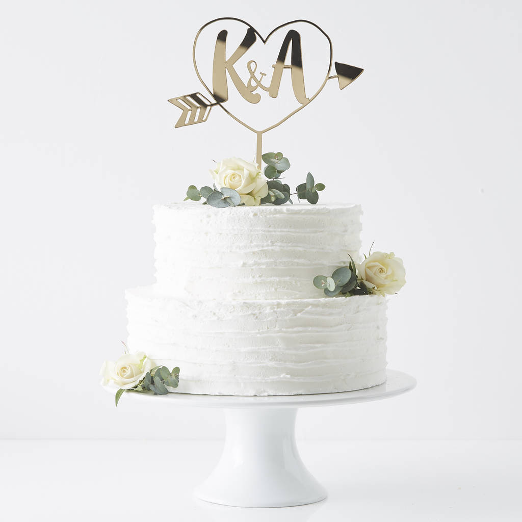wedding cake decorations to buy personalised initials arrow cake topper by 22410