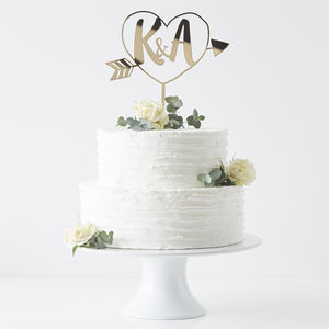 Personalised Initials Arrow Cake Topper - simple 60s wedding styling