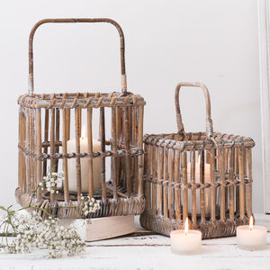 White Distressed Bamboo Lanterns Set Of Two