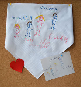 Personalised Child's Drawing Hanky - 70th birthday gifts