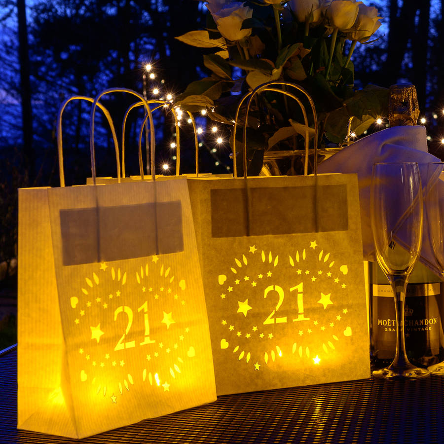 21st birthday paper lantern bag party decoration by baloolah bunting