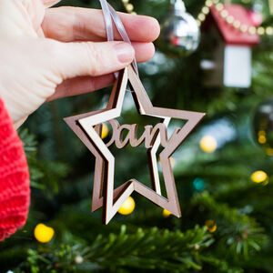 Personalised 3D Star Tree Decoration
