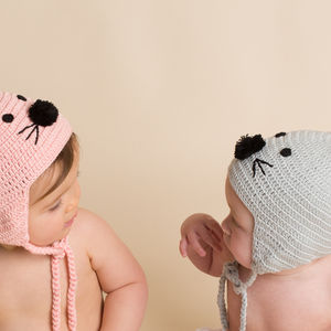 Hand Crochet Mouse Hat - winter sale