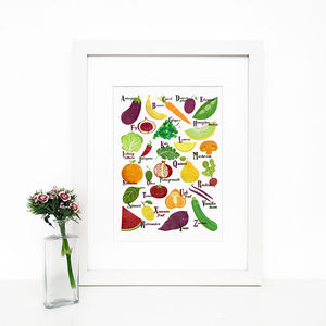 Fruits And Vegetables Alphabet, Giclée Wall Art Print - food & drink prints