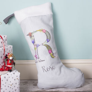 Personalised Letter And Name Christmas Stocking Gift - stockings & sacks