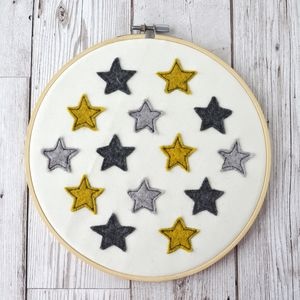 Handmade Yellow And Grey Felt Star Embroidery Hoop - modern & abstract