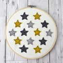 Handmade Yellow And Grey Felt Star Embroidery Hoop