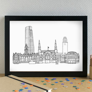 Leeds Landmarks Skyline Art Print - architecture & buildings
