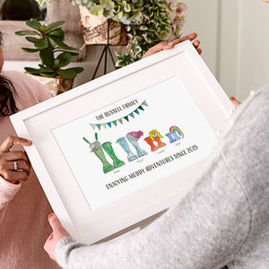Personalised Welly Boot Family Print - gifts for grandparents