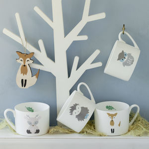 Personalised Hand Decorated Woodland Friends Cups