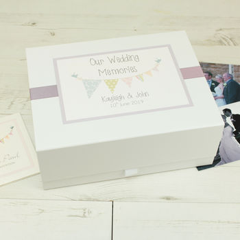 Personalised Bunting Wedding Memory Box