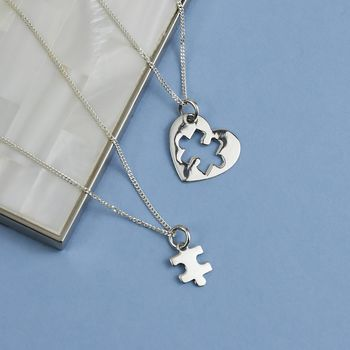 Friendship Jigsaw Heart Sterling Silver Necklace Set