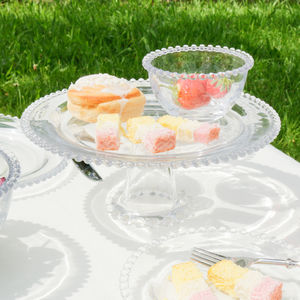 Bella Perle Beaded Glass Cake Stand - cake stands