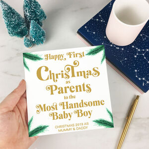 Personalised Baby's First Christmas New Parents Card