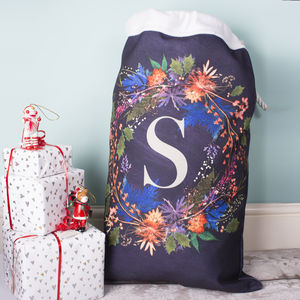 Personalised Festive Wreath Xmas Present Santa Sack - winter sale