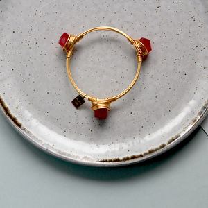 Bright Red Jade Gold Plated Wire Tomati Bangle