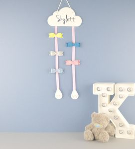 Personalised Cloud Hair Bow Hanger White - dreamland nursery