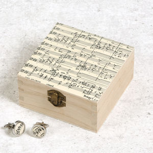 Personalised Music Birthday Cufflink Or Jewellery Box