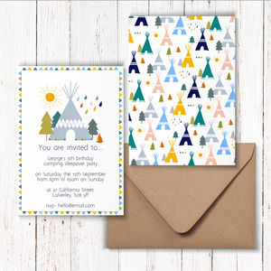 Tipi Camping Birthday Party Invitations