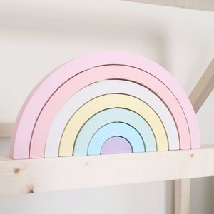 Pastel Wooden Rainbow Stacking Toy - whatsnew