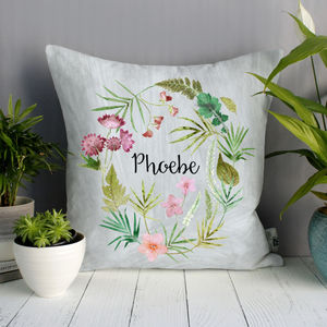 Personalised Floral And Exotic Tropical Design Cushions