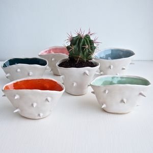 Handmade Spiky Colourful Ceramic Vase Planter