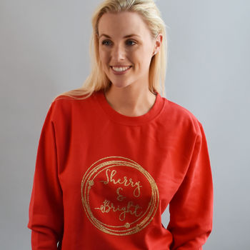 'Sherry And Bright' Glitter Unisex Sweatshirt