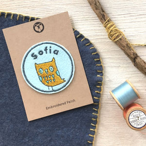 Personalised Embroidered Patch 'Owl'