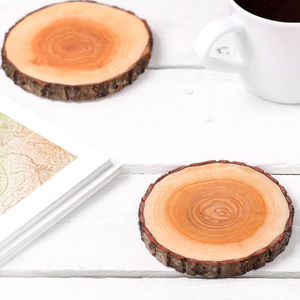 A Pair Of Real Wood Coasters - table decorations