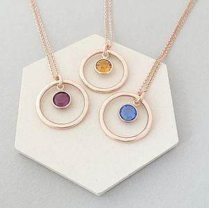 Rose Gold Circle Birthstone Necklace