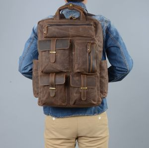 Military Style Multi Pockets Waxed Canvas Backpack