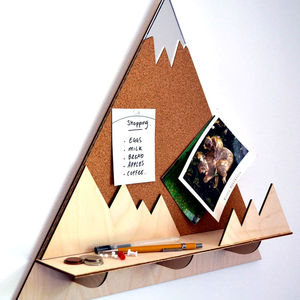 Mountain Peak Decorative Pin Corkboard And Shelf - bedroom