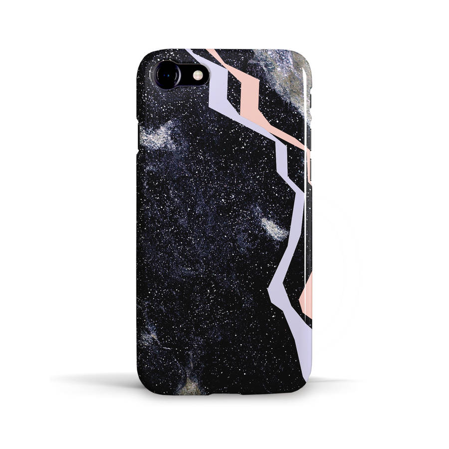 Black stone phone case design with lilac and pink by giant for Design case