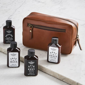 Travel Leather Wash Bag And Luxury Toiletries Set - traveller