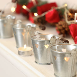 Set Of Six Mini Christmas Tea Light Lanterns