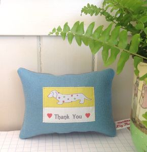 'Thank You' Handmade Lavender Dachshund Cushion, Boxed