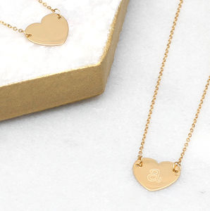 Personalised 9ct Gold Initial Heart Necklace - new in jewellery