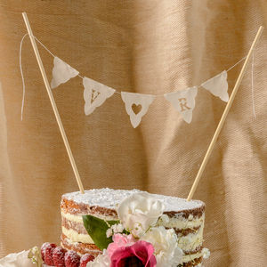 Personalised Wedding Cake Bunting Topper Initials - rustic autumn wedding styling