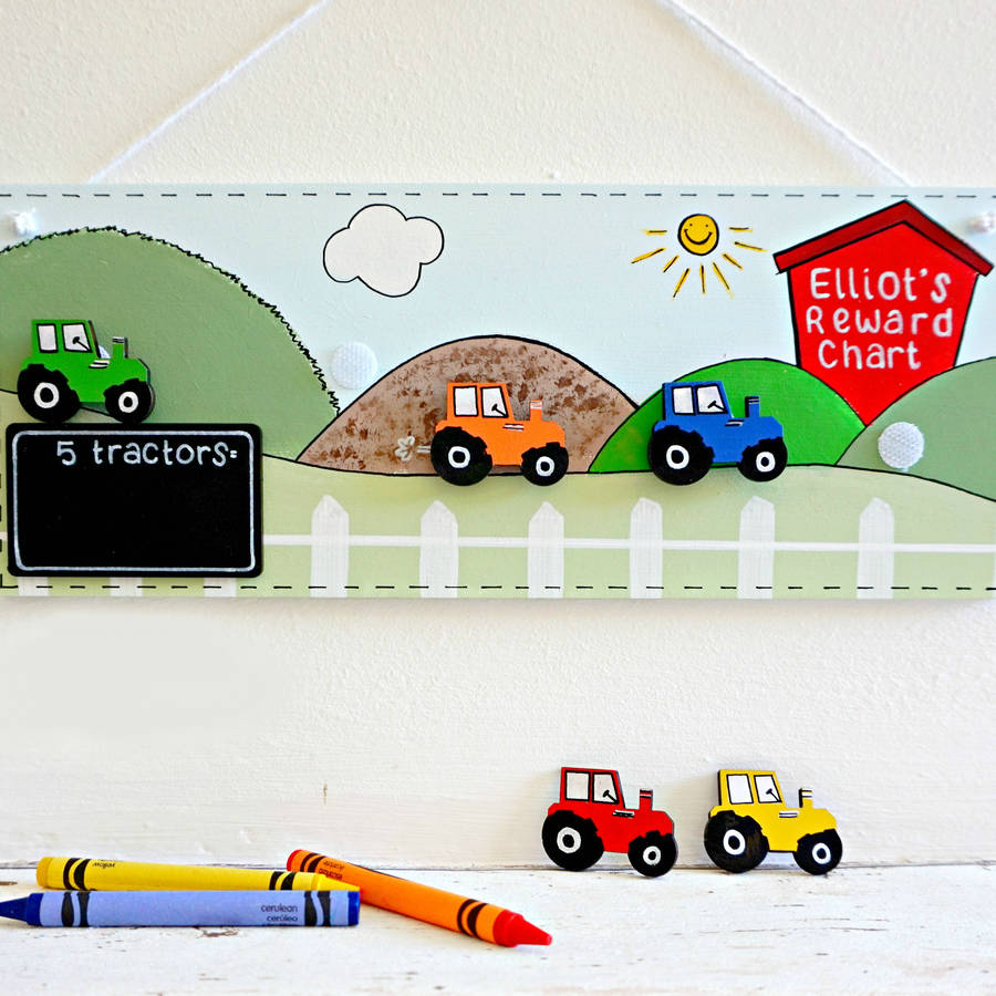 reward stickers for children personalised tractor reward chart wall hangings for children