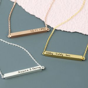 Personalised Horizontal Bar Necklace - gifts for her