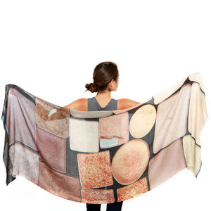 Womens Printed Cashmere Silk Scarf, Palette D'orée - pashminas & wraps