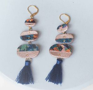 Supernova Marbled Pebble Drop Tassel Earrings
