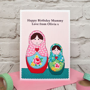 'Russian Dolls' Personalised Birthday Card
