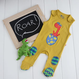 Dinosaur Footed Dungaree And Toy Set - gifts for babies