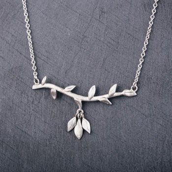 Sterling Silver Branch Necklace With Leaf Drop Detail