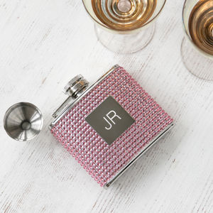 Personalised Monogram Diamante Hip Flask With Funnel - womens hipflasks