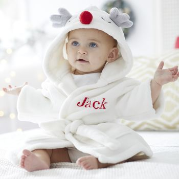 Personalised Antler Fleece Dressing Gown