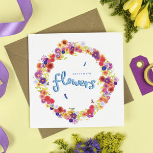 'Say It With Flowers' Floral Card - new job cards