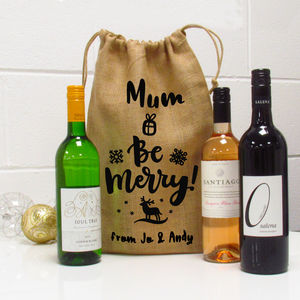 Be Merry Personalised Christmas Jute Wine Gift Bag