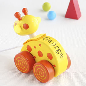 Personalised Giraffe Wooden Pull Along Toy - toys & games